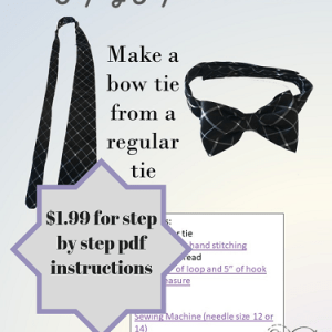 A great way to reuse a favorite tie from a dad or grandfather. Upcylce a tie into a chic bow tie
