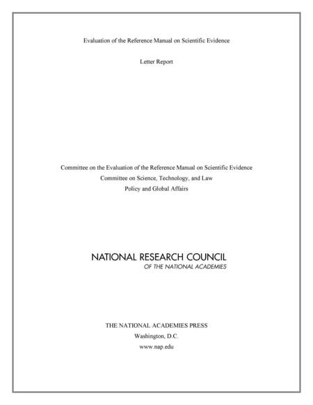 Evaluation of the Reference Manual on Scientific Evidence Letter Report  The National