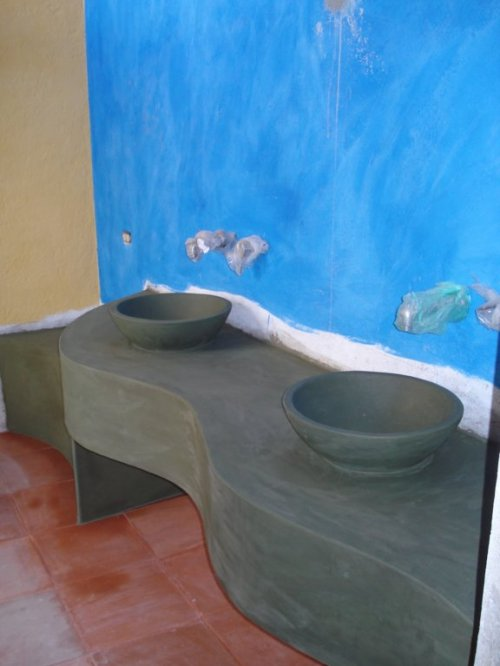 Sinks made from hollowed out dirt in our center courtyard
