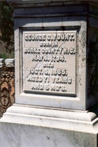George Younts Grave's inscription