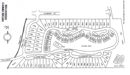Yountville, Vintage Subdivision Site Map