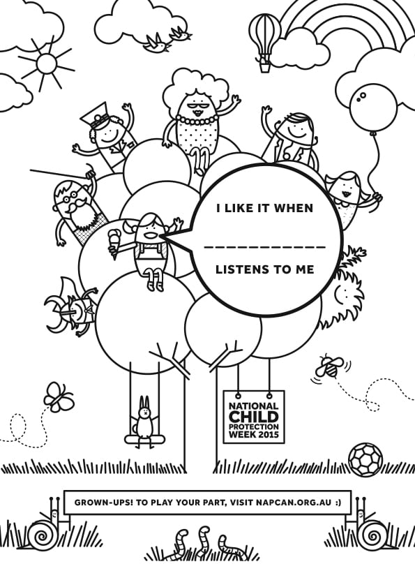 The 2015 National Child Protection Week colouring in sheet