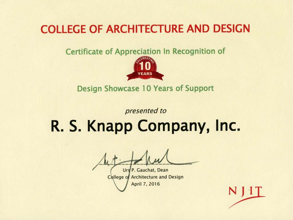 NJIT certificate of appreciation