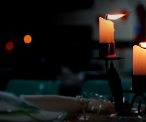 candles on a dinner table