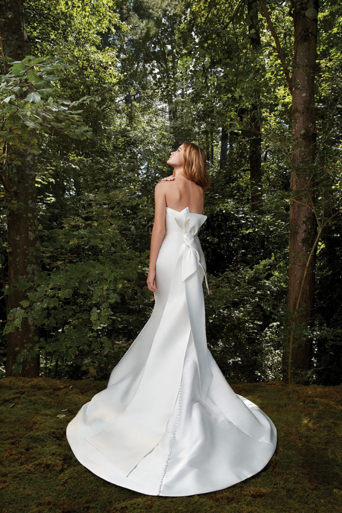 Bisou's Draped Trumpet Dress in Mikado ($ 3,510), Anne Barge, Couture Bridal, Surfside