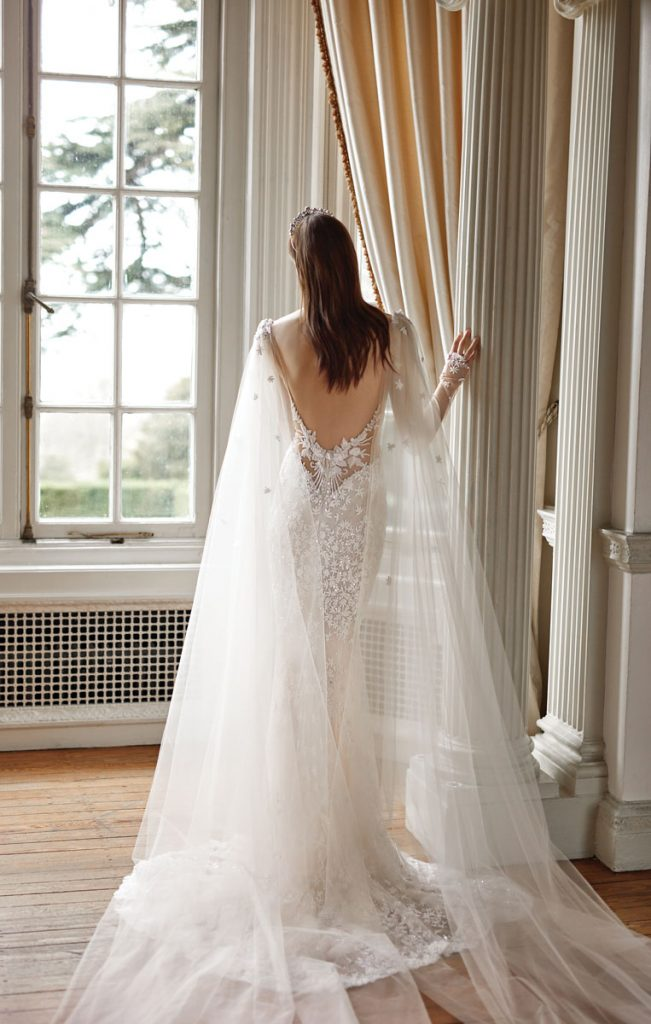 Donatella B Long Sleeve Dress in Blusher and Ivory with Hand-Embroidered Jasmine Flowers ($ 9,600), Rouge Cape with Hand-Embroidered Jasmine Flowers ($ 1,320), Galia Lahav, Miami