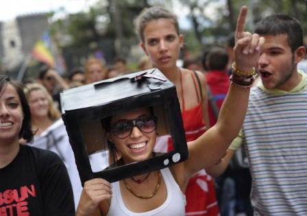 La protesta degli studenti a Napoli 1