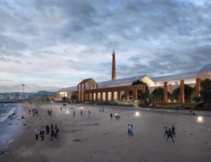 Lo science center visto dalla spiaggia