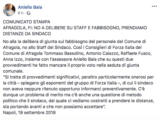 """AFRAGOLA - Forza Italia sempre più compatta. Smentiti i """"mercenari"""" della disinformazione!"""