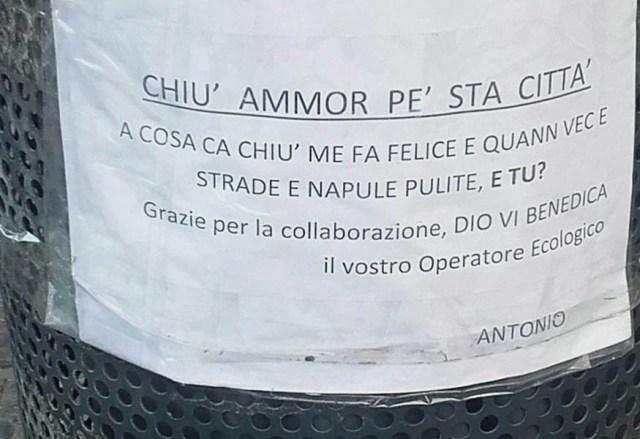 """Netturbino ai napoletani: """"Cchiù ammore pe' sta città """""""