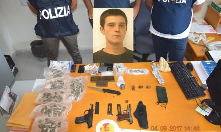Blitz della Polizia di Stato in Giugliano in Campania – arrestato 26enne trovato in possesso di due pistole e droga