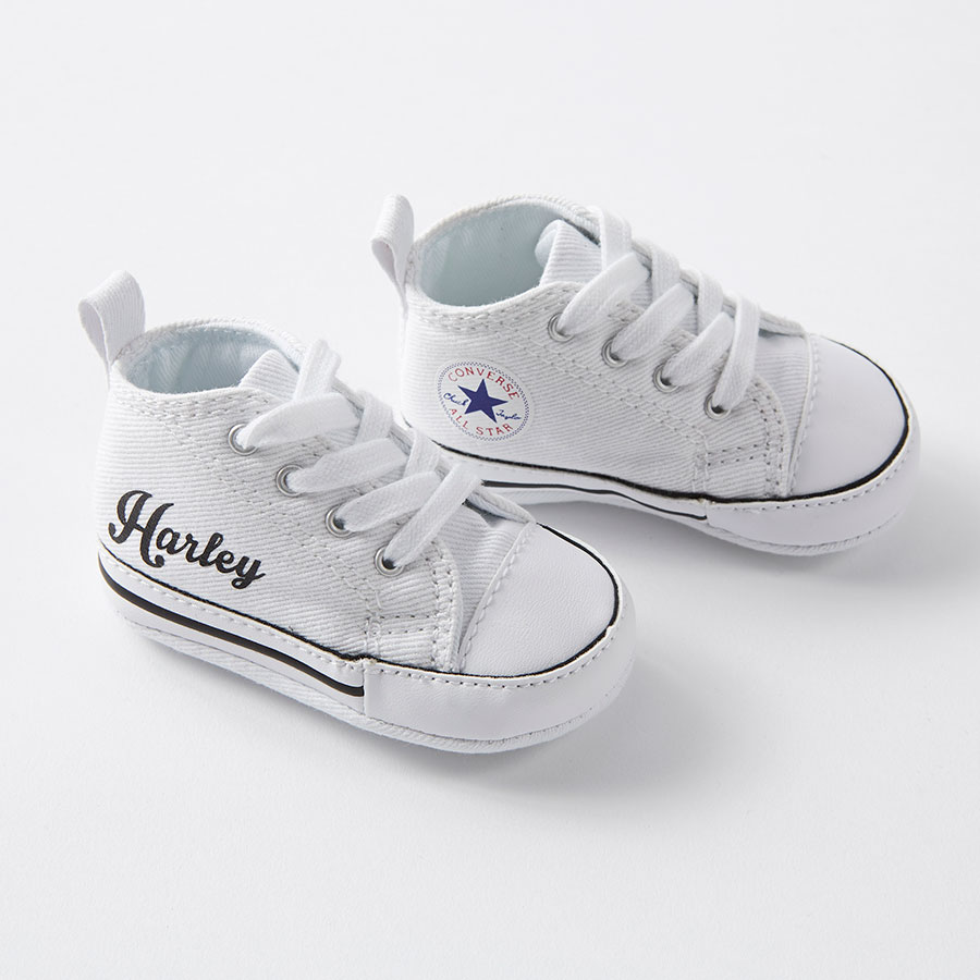 White Custom Baby Converse Crib Nappy Head