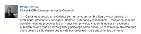 Recomendación Paula Gaviria, Nestlé Colombia