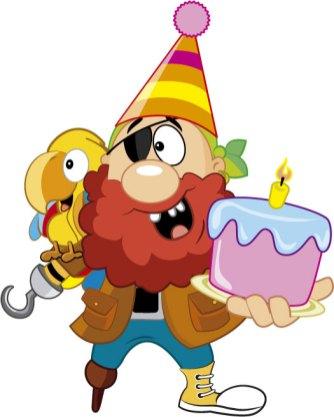 Pirata El Tesoro Encantado y guacamayo con torta de cumpleaños