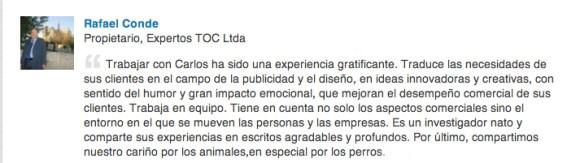 Recomendación Rafael Conde, Expertos TOC