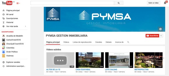 Cuenta Pymsa YouTube