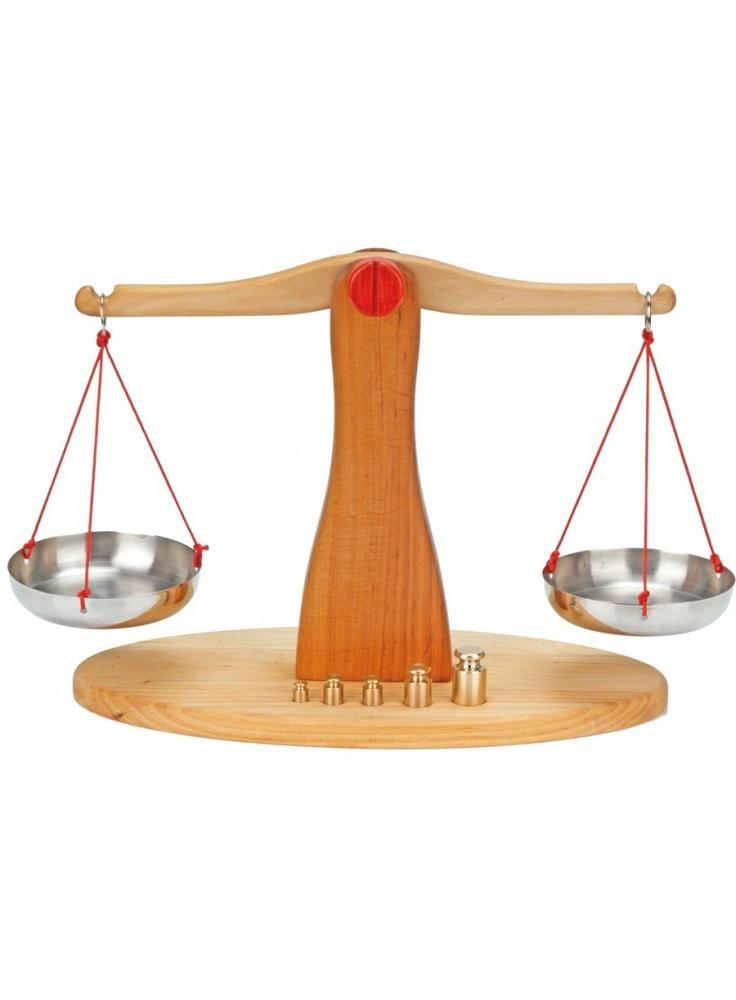 Balanza de madera con platillos acero inoxidable