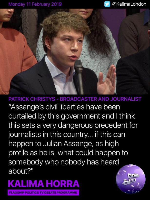 Patrick Christys - Jullian Assange debate on Kalima Horra