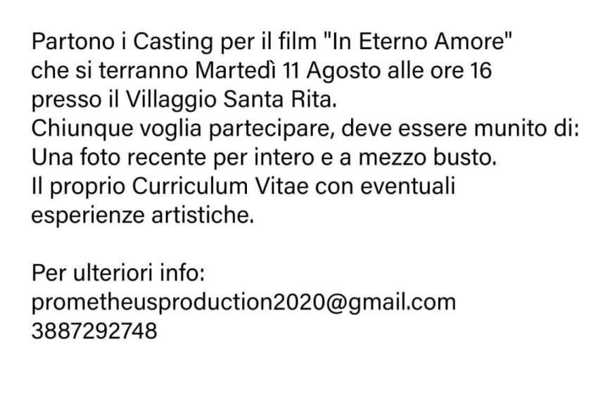 """CASTING E PROVINI PER PARTECIPARE AL FIL """"IN ETERNO AMORE"""""""