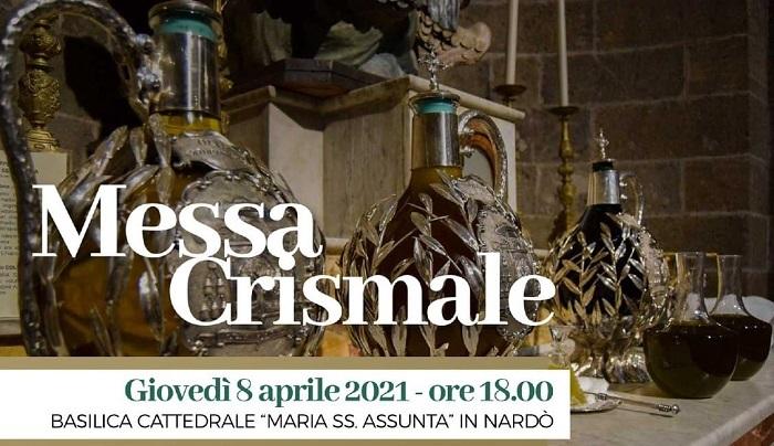 """MESSA CRISMALE – GIOVEDÌ IN DIRETTA TV DALLA BASILICA CATTEDRALE """"MARIA SS. ASSUNTA"""" DI NARDÒ"""