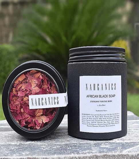 BNarganics African black soap with rose petals