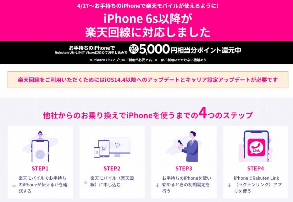 iPhone 6s以降まで楽天回線対応