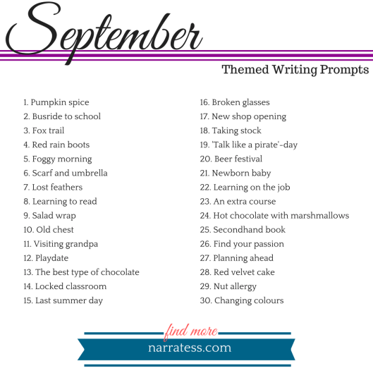 Writing Prompts 2018 - September
