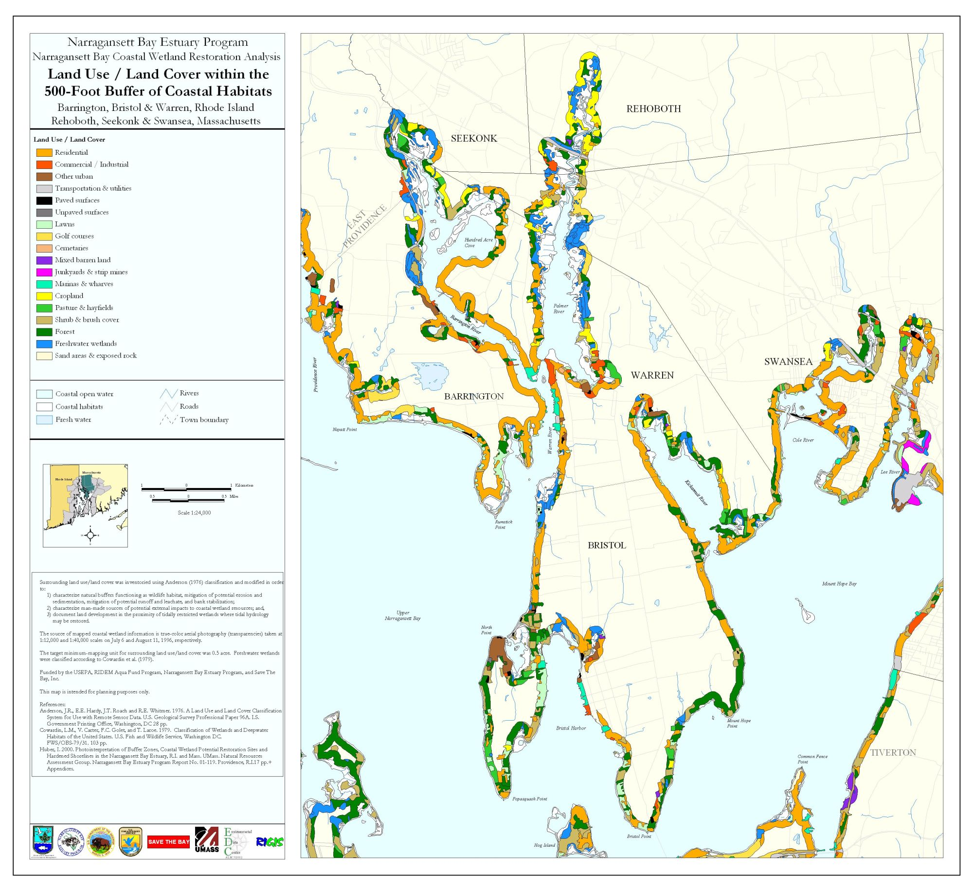 hight resolution of land use land cover within the 500 ft buffer of coastal habitats