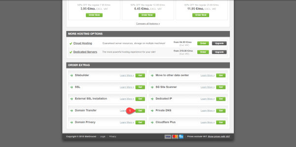 Transfer Domain Godaddy Siteground
