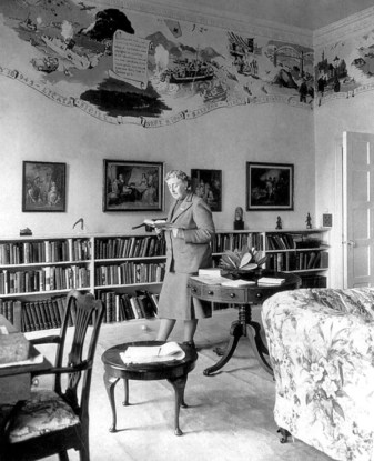 Agatha Christie inside the library at Greenway House.