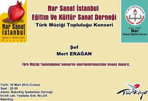 Nar Sanat İstanbul Türk Müziği Topluluğu Konseri