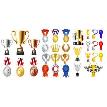 金銀銅メダル/トロフィー/優勝カップ/表彰台のイラストアイコン無料ベクター(イラストレーターai)素材