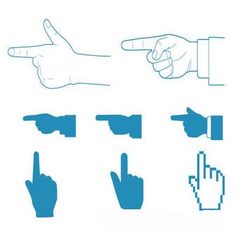 指差し矢印、くわしくは検索での指  | シルエットデザイン