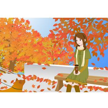 秋の公園 - 素材【イラスト】 - 彩クリWEB
