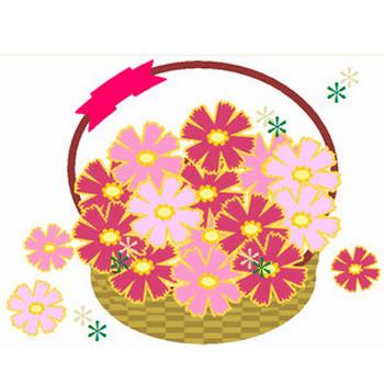 コスモス花かごきらきらイラスト♪ 毎日が、笑顔で元気♪/ウェブリブログ