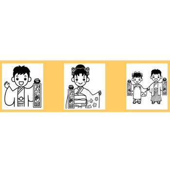 七五三1/秋の無料イラスト【白黒イラスト素材】