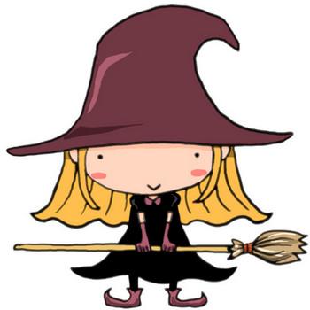 ハロウィンです!魔女の仮装でほうきを持ってニコっと笑う女の子|かわいい無料イラスト素材(商用利用可)