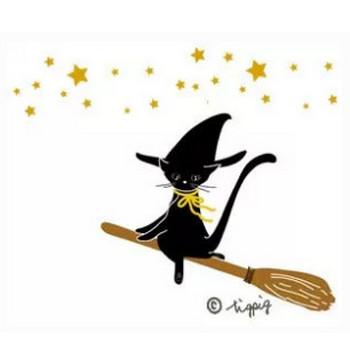 ハロウィン魔女の黒猫と星のイラスト:300×25 0pix | webデザイン素材 tigpig