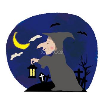 魔女のハロウィン(魔女と月夜)無料イラスト54456 | 素材Good