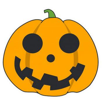 丸いハロウィンかぼちゃ【無料イラスト・フリー素材】