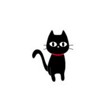 ねこのイラスト/POPな黒猫 無料イラスト/フリー素材