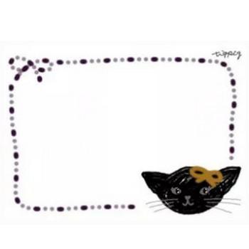 フリー素材:フレーム;ガーリーなモノクロの黒猫。ハロウィンのwebデザイン素材(640×480pix) | webデザイン素材 tigpig