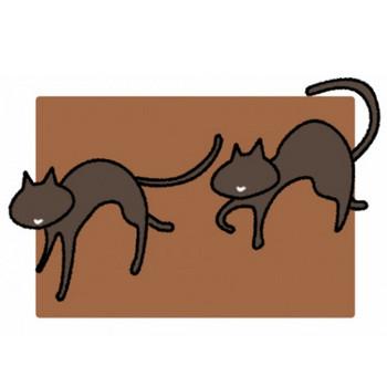 2匹のこげ茶色の猫のイラスト - 無料イラストのIMT 商用OK、加工OK