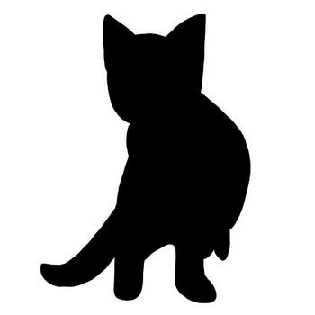 呼ばれて振り返る子猫のシルエットのフリーイラスト | nyan×3