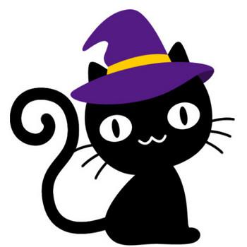 【ハロウィンのイラスト】帽子をかぶった可愛い黒猫 | 無料フリーイラスト素材集【Frame illust】