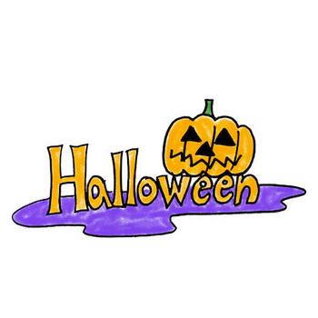 手書きのハロウィンロゴイラストお化けかぼちゃhalloween | 素材屋きんぎょ
