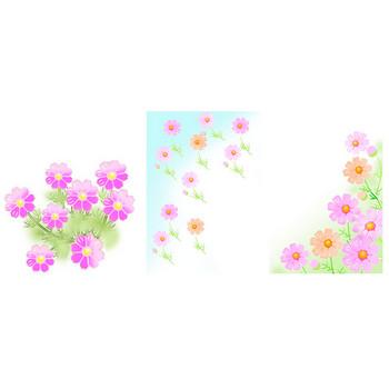 秋の花イラスト 素材屋じゅん リンドウ キキョウ桔梗 コスモス 彼岸花 菊 ススキ 秋の花背景素材