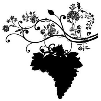 花のイラスト・フリー素材/白黒・モノクロNo.561『白黒・ぶどうシルエット』