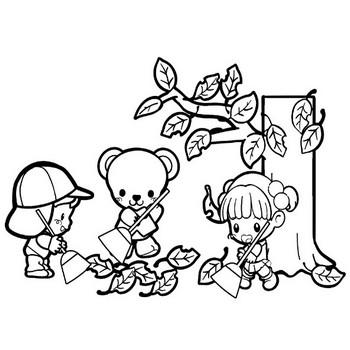 落ち葉の掃除をする子どもたちのイラスト | 保育園・幼稚園のおたよりフリー素材「いらすとびより」