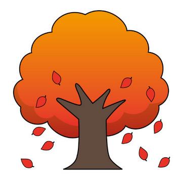 イラストポップの幼児教育素材| 11月No21落ち葉を落とす紅葉した木の無料イラスト